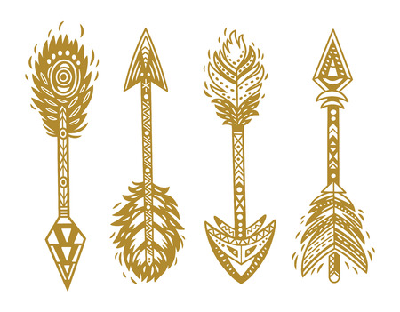 Indian ethnic arrows in gold. Vector illustration
