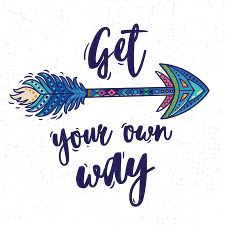 Motivational card with tribal ethnic arrow. American indian motifs.