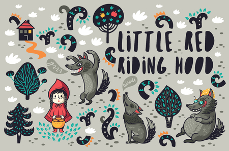 Cute little girl and gray hungry wolves in the forest vector set Illustration