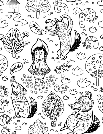 Little Red Riding Hood cartoon background in outline.