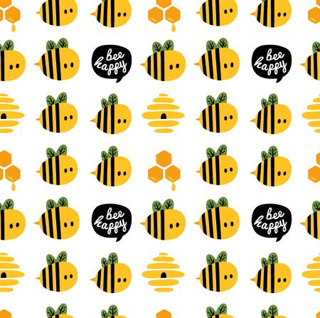 漫画蜂と蜂の巣の設計のためのシームレスなパターン  イラスト・ベクター素材