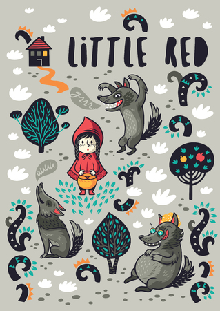 Little Red Riding Hood vector poster and card design.