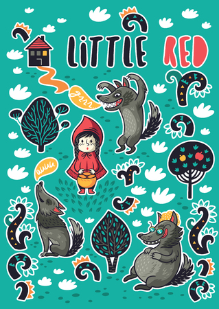 Vector childish patches with cartoon Little Red Riding Hood