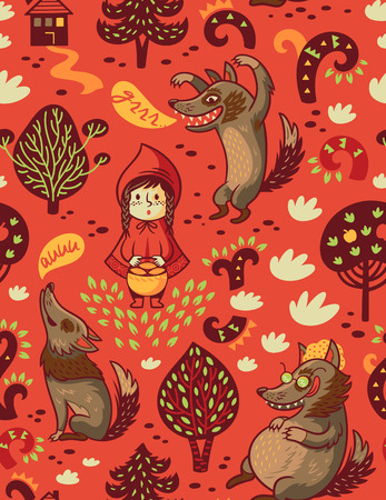 Little Red Riding Hood seamless pattern. Vector illustration 向量圖像