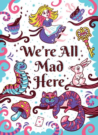 Wszyscy tutaj jesteśmy szaleni. Druk artystyczny. Zabawna, kapryśna ilustracja z uroczymi postaciami z Alicji w krainie czarów