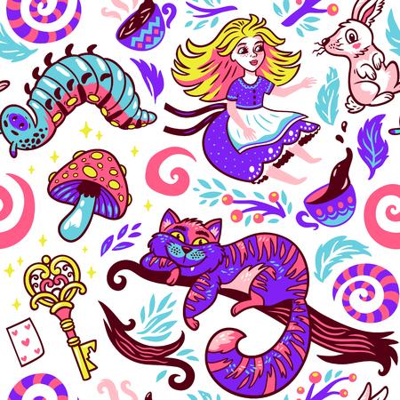 Alice in wonderland sprookjesachtige verhaal vectorillustratie. Naadloos patroon met een meisje, de kat van Cheshire, konijn, rupsband en bloemen die op een witte achtergrond wordt geïsoleerd