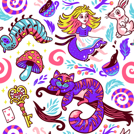 Alice in wonderland fairytale story vector illustration. Seamless pattern with a girl, Cheshire cat, rabbit, caterpillar and flowers isolated on a white background
