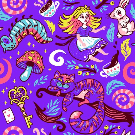 おとぎ話物語のベクトル図で不思議の国のアリス。女の子、チェシャ猫、ウサギ、キャタピラー、紫色の背景に分離された花のシームレス パターン