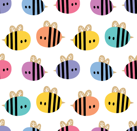Seamless pattern with colorful cartoon bees isolated on a white background