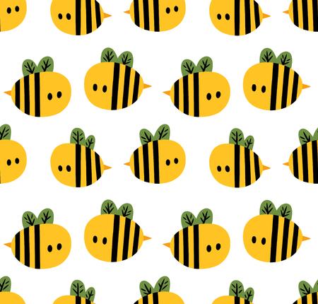 노란색 만화 꿀벌 흰색 배경에 고립 된 원활한 패턴