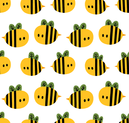 Seamless pattern with yellow cartoon bees isolated on a white background Illustration