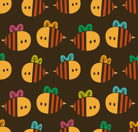 노란색 만화 꿀벌 갈색 배경에 고립 된 원활한 패턴 일러스트