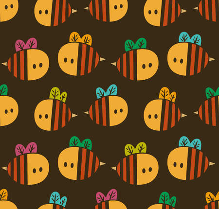 Seamless pattern with yellow cartoon bees isolated on a brown background