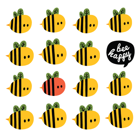 Be happy greeting card with one red and many yellow cartoon bees and beehive