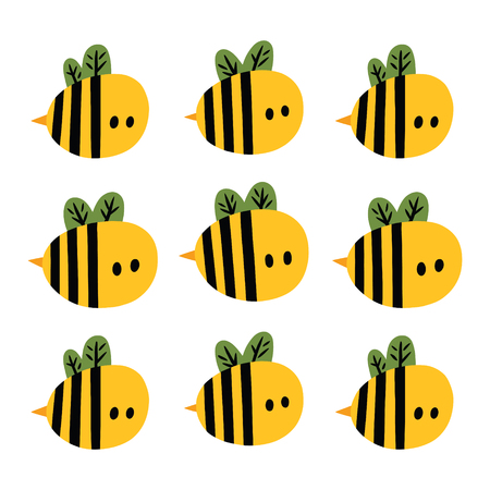 Print with yellow cartoon bees. Vector illustration