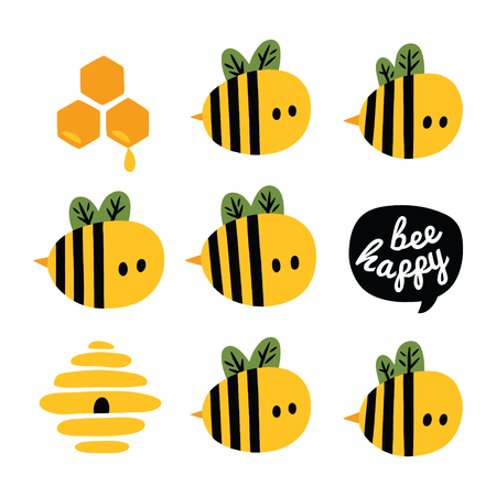 Be happy greeting card with yellow cartoon bees and beehive Illustration