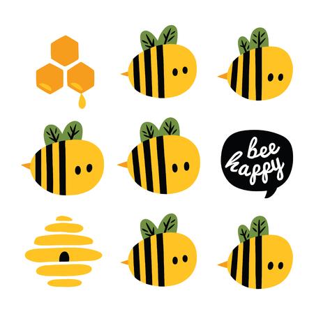 Wees gelukkig wenskaart met gele cartoonbijen en bijenkorf