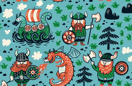 Naadloos patroon met vikingen voor ontwerpstof, achtergronden, verpakkingspapier Stock Illustratie