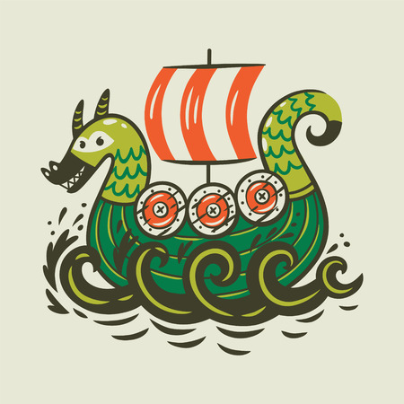 Cartoon ship. Scandinavian viking drakkar Çizim