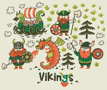 Nordic collection with vikings, dragon and ship in cartoon style Illustration