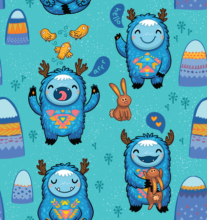 Cute forest monsters seamless pattern in blue, turquoise colors