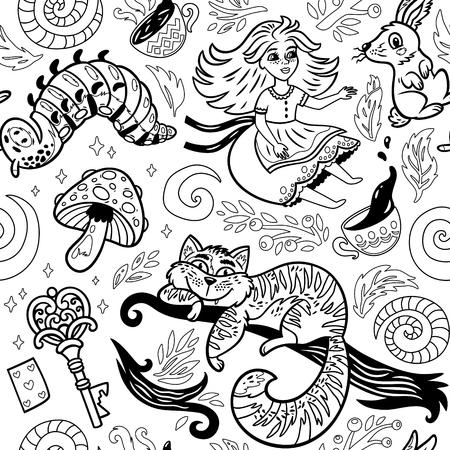 Märchen-Tintenhintergrund mit Zeichentrickfilm-Figuren von Alice im Wunderland Standard-Bild - 81703537