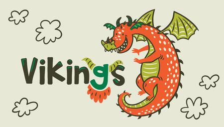 Dragon print. Vikings Age. Stockfoto