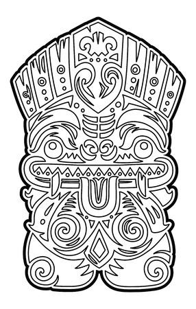 Máscara Polinesia Del ídolo Del Vector Del Tótem De Tiki. Dibujo ...
