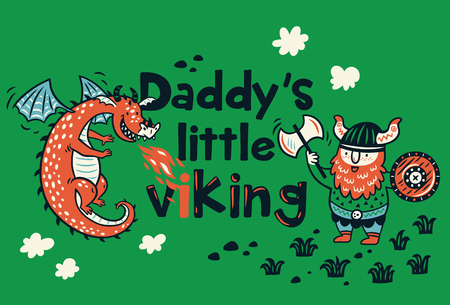 Daddys little viking print for childrens clothing Stock Photo