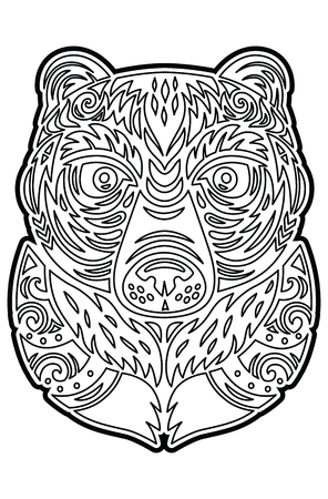 Polynesian Tiki totem bear mask. Coloring page