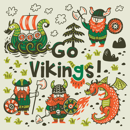 Go vikings motivation card. Cute cartoon characters of vikings, dragon