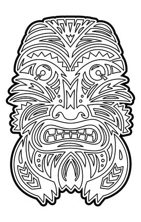 Polynesian Tiki totem vector idol mask. Coloring page Stock Photo