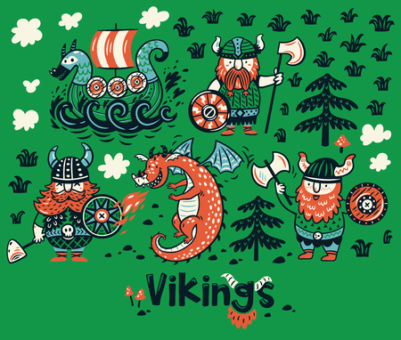 Nordic collectie met vikingen, draak en schip in cartoonstijl