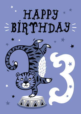 happy birtday: Birthday card for 3 year old baby Illustration