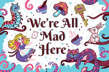 Druk met karakters uit Alice in wonderland