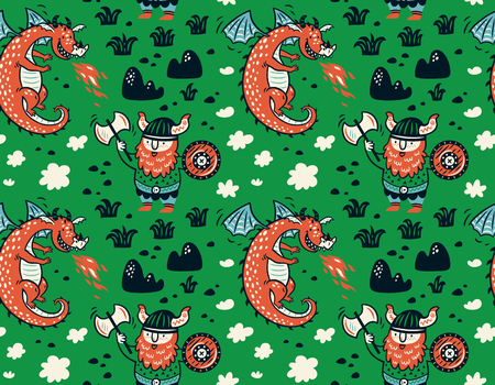 Seamless pattern with viking for design fabric, backgrounds, wrapping paper