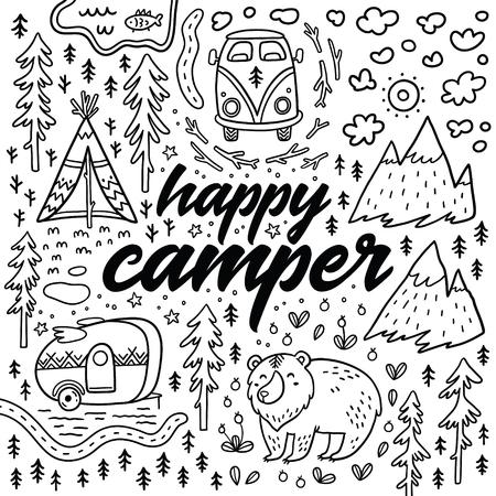 Gelukkige camper vector hand getekende kaart. Cartoon camping print