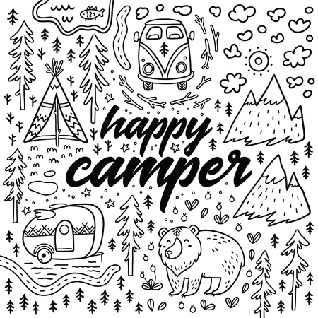Happy camper vector hand drawn card. Cartoon camping print