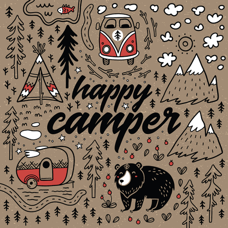 Happy camper vector hand drawn card. Cartoon camping print