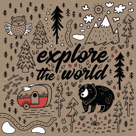 Explore the world cartoon map. Comic vector card