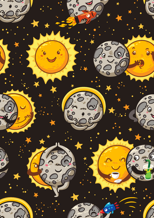 Cute moon practice of yoga. Solar eclipse seamless pattern Illustration