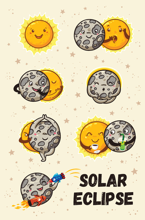 Cute moon practice of yoga. Solar eclipse in phases Illustration