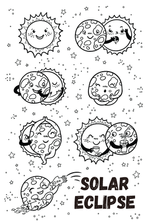 Solar eclipse in phases. Outline set