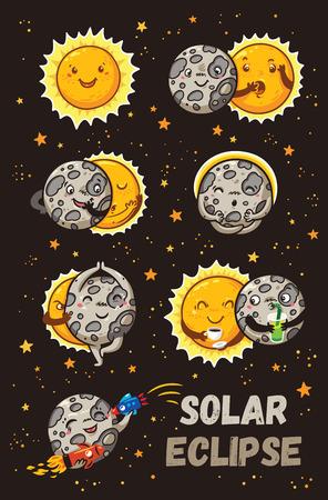 Zonsverduistering in fasen. Cartoon Moon doet yoga als het de gelukkige zon volledig bedekt. Grappige vector set