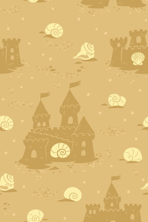Seamless pattern with sandcastles and seashells on the beach