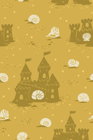Endless summer backgrond with sandcastles and seashells. Vector illustration