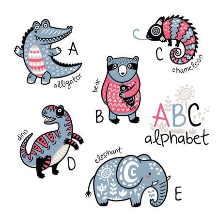 Dieren alfabet A - E voor kinderen Stock Illustratie