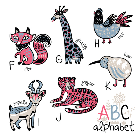 Animals alphabet F - K for children Stock fotó - 84143010
