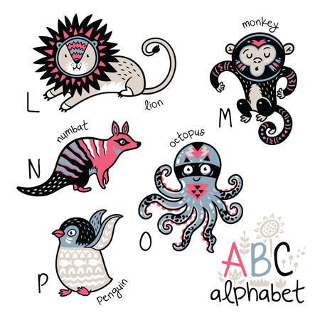 Animals alphabet L - P for children