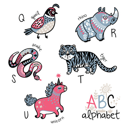 Animals alphabet Q - U for children